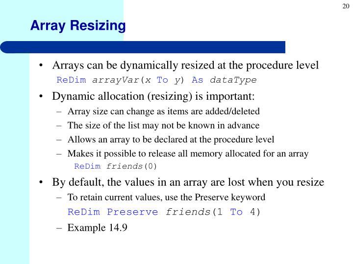 Array Resizing