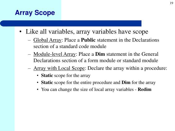 Array Scope