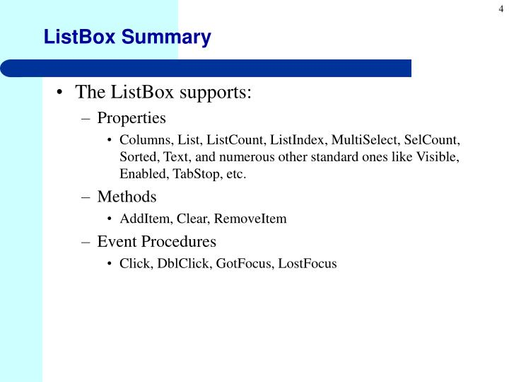 ListBox Summary