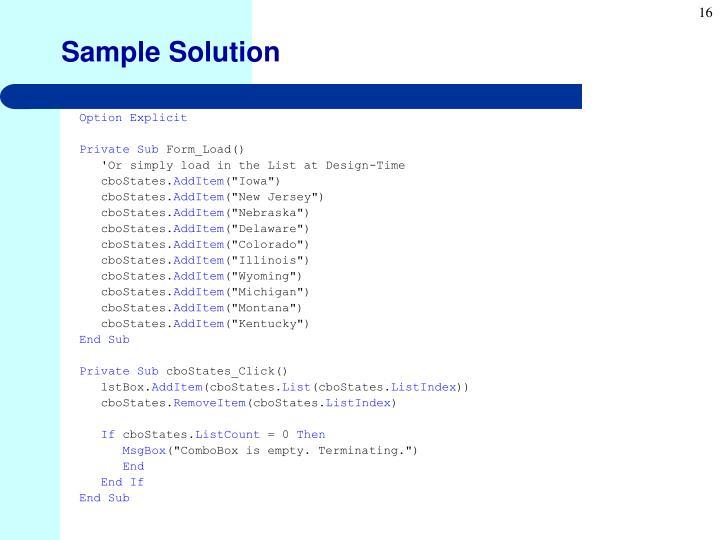 Sample Solution