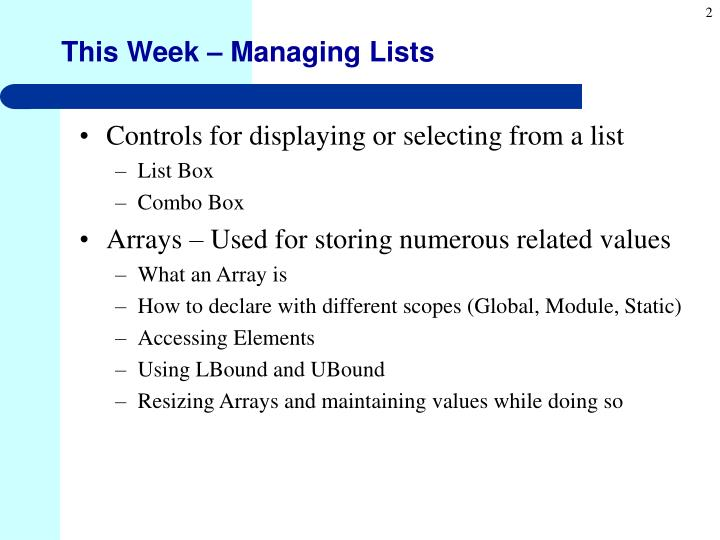This Week – Managing Lists