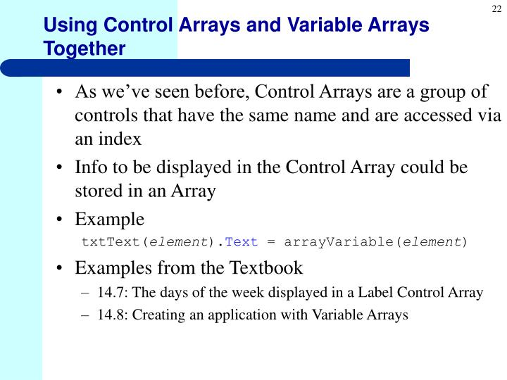 Using Control Arrays and Variable Arrays Together