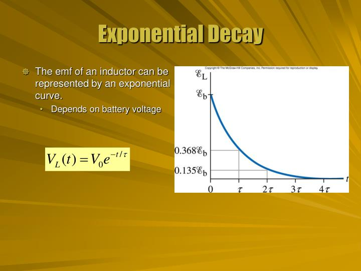 The emf of an inductor can be represented by an exponential curve.
