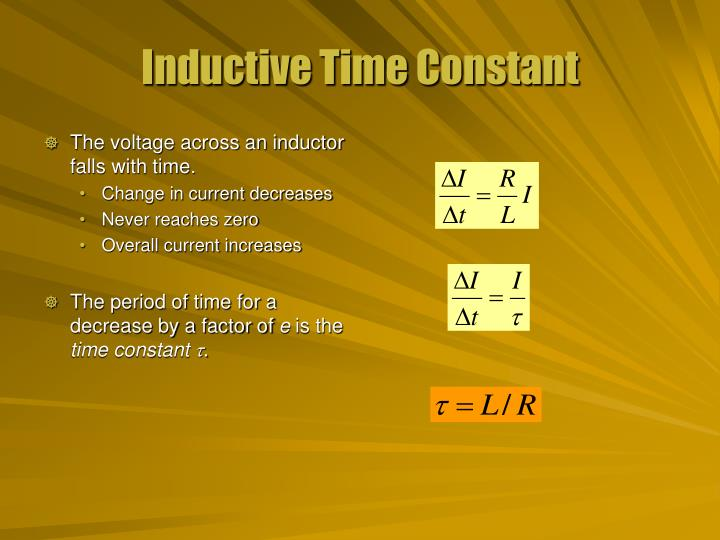 The voltage across an inductor falls with time.