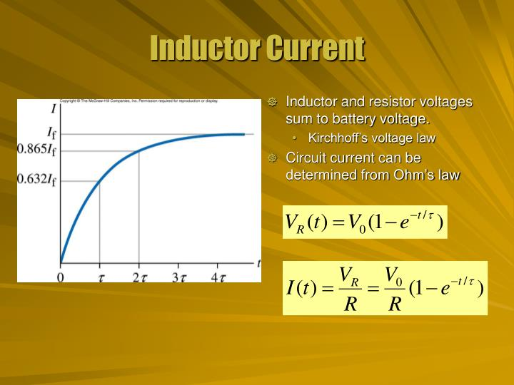 Inductor and resistor voltages sum to battery voltage.