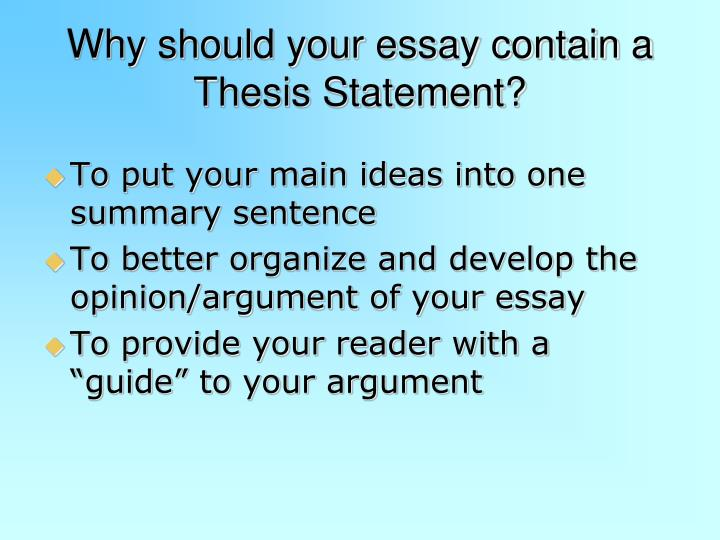 where does the thesis statement go in a paper The introductory paragraph should also include the thesis statement, a kind of mini-outline for the paper: it tells the reader what the essay is about.
