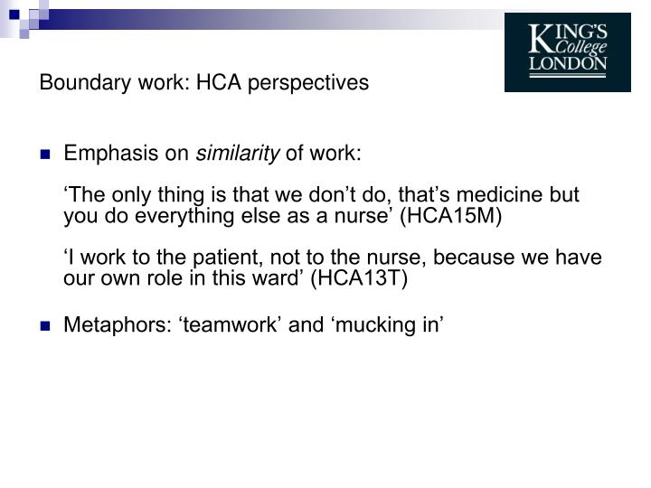 Boundary work: HCA perspectives