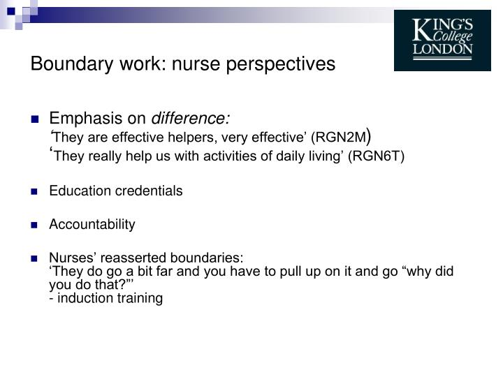 Boundary work: nurse perspectives