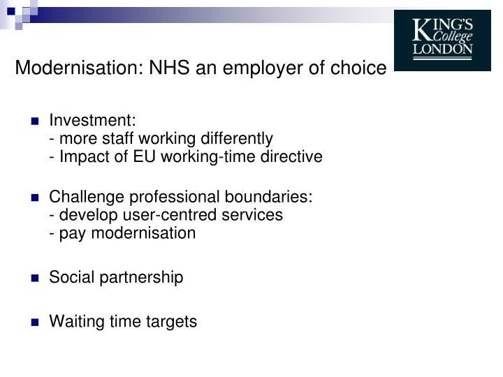 Modernisation nhs an employer of choice