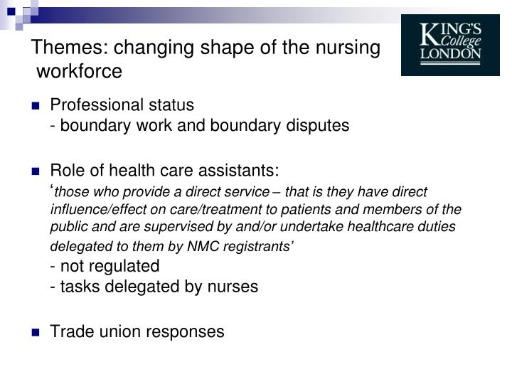 Themes: changing shape of the nursing