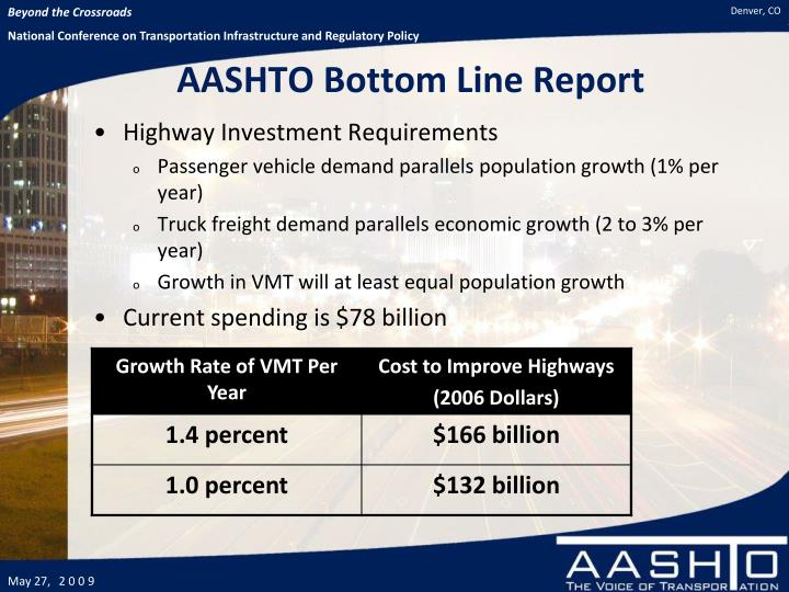 AASHTO Bottom Line Report