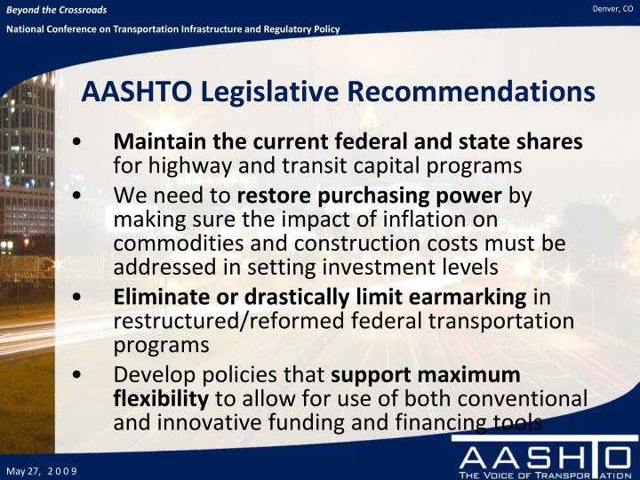 AASHTO Legislative Recommendations