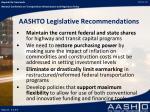 aashto legislative recommendations