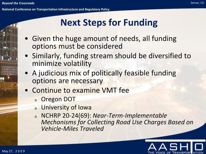 Next Steps for Funding