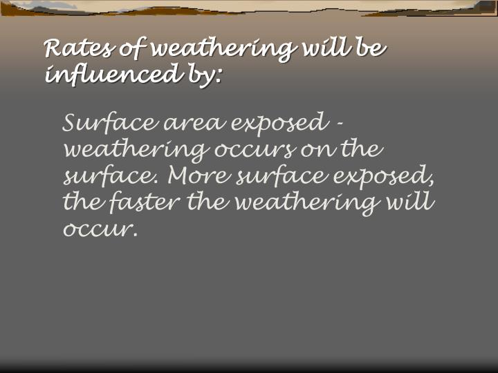 Rates of weathering will be influenced by:
