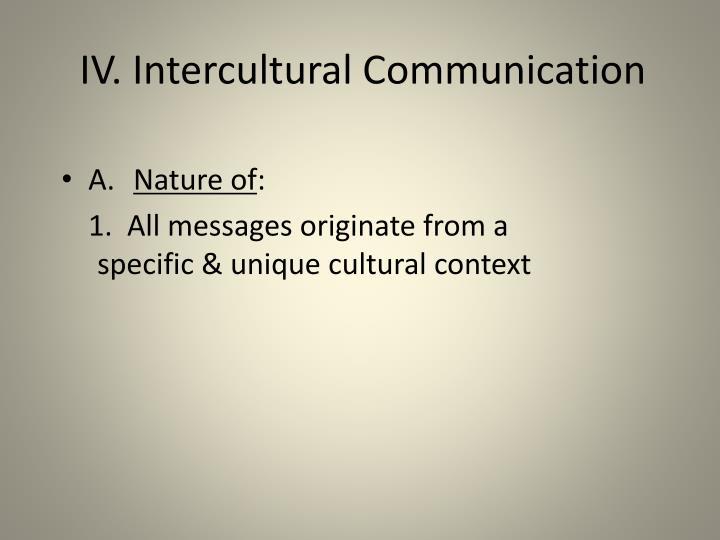 IV. Intercultural Communication