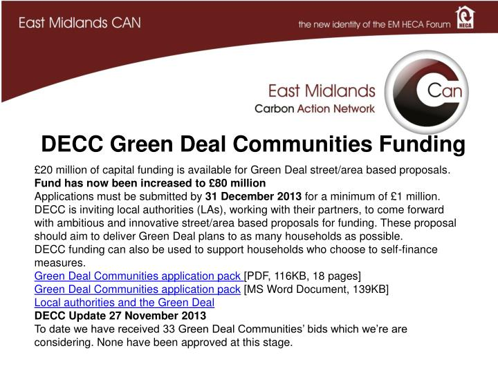 DECC Green Deal Communities Funding