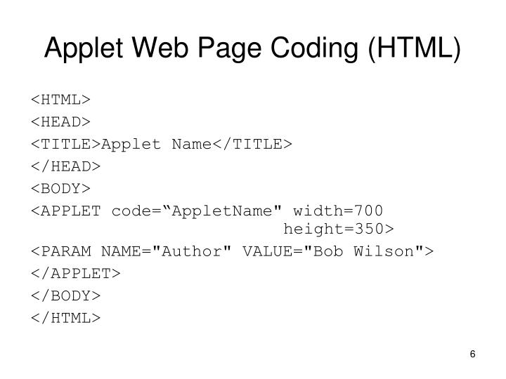 Applet Web Page Coding (HTML)