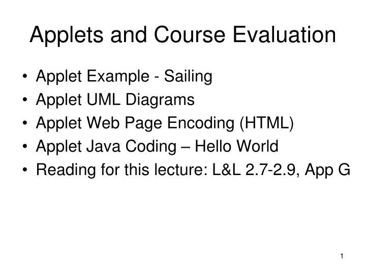 Applets and course evaluation