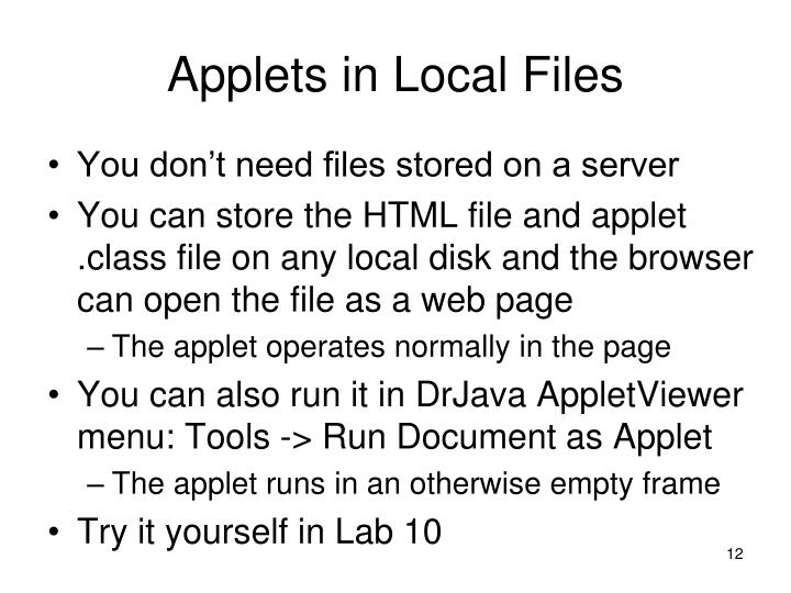Applets in Local Files