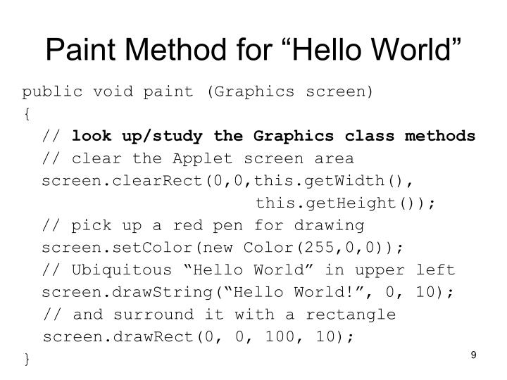"Paint Method for ""Hello World"""