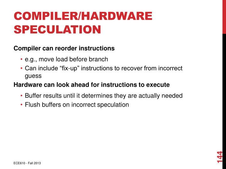 Compiler/Hardware Speculation