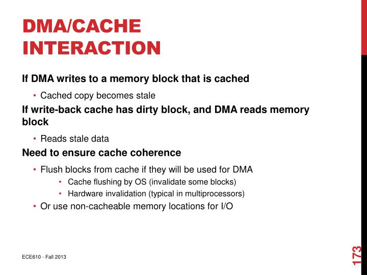 DMA/Cache Interaction