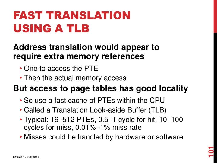 Fast Translation Using a TLB