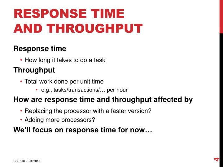 Response Time and Throughput