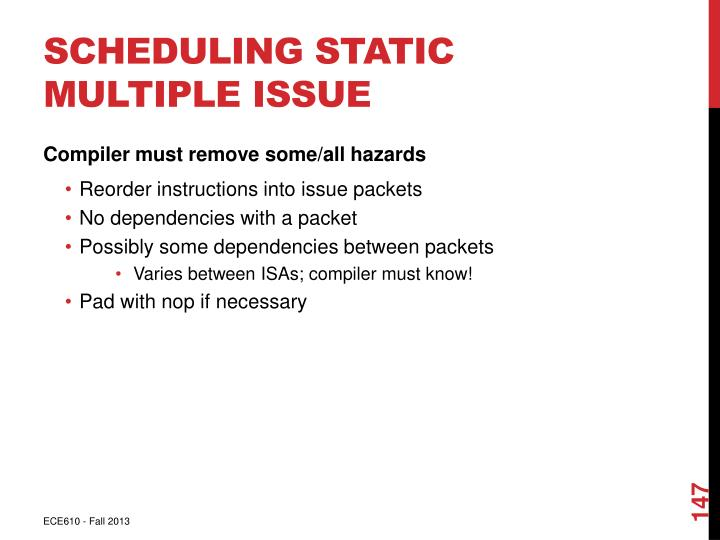 Scheduling Static Multiple Issue