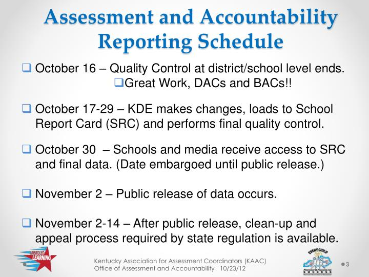 Assessment and Accountability Reporting Schedule