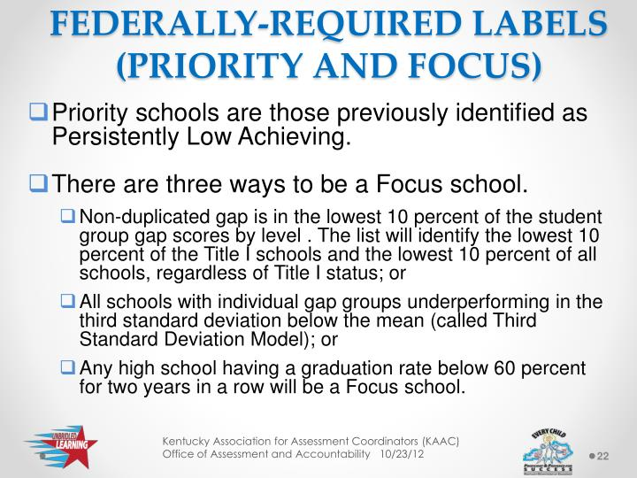 FEDERALLY-REQUIRED LABELS (PRIORITY AND FOCUS)