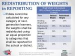redistribution of weights in reporting