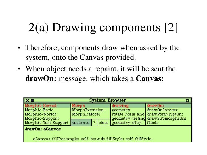 2(a) Drawing components [2]