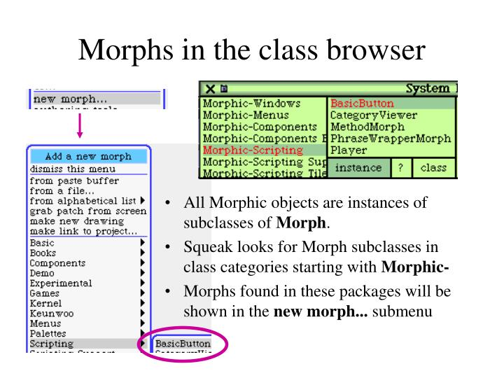 Morphs in the class browser
