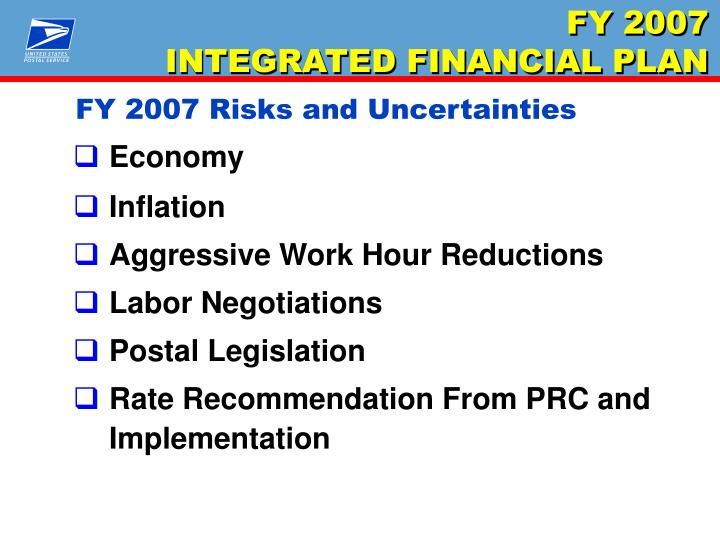 FY 2007 Risks and Uncertainties