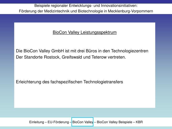 BioCon Valley Leistungsspektrum