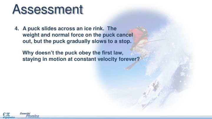 A puck slides across an ice rink.  The weight and normal force on the puck cancel out, but the puck gradually slows to a stop.