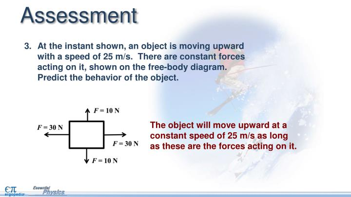 At the instant shown, an object is moving upward with a speed of 25 m/s.  There are constant forces acting on it, shown on the free-body diagram.  Predict the behavior of the object.