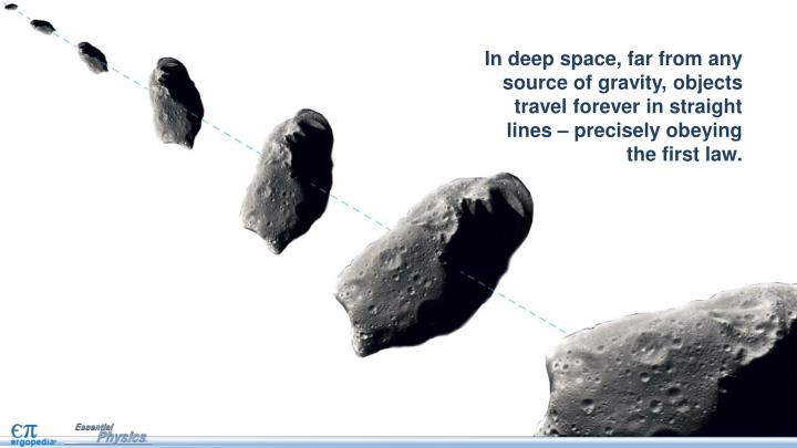 In deep space, far from any source of gravity, objects travel forever in straight lines – precisely obeying the first law.