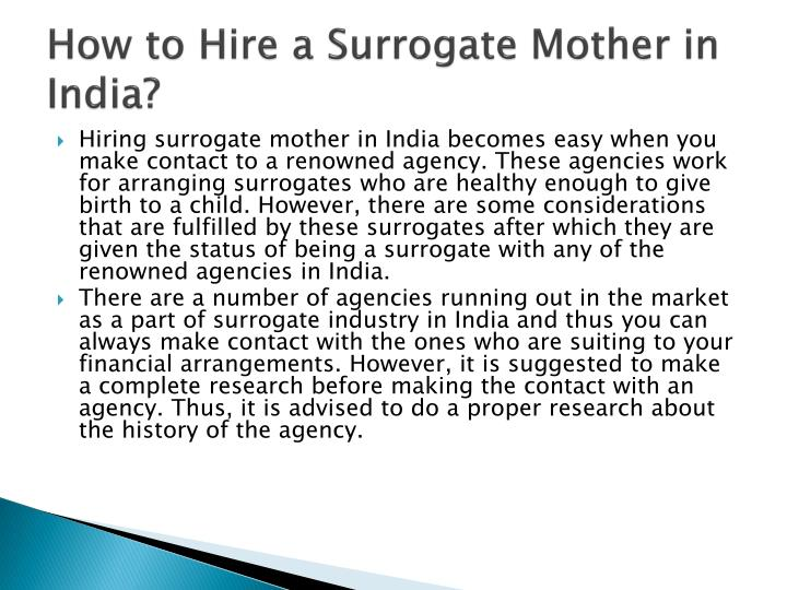 How to hire a surrogate mother in india