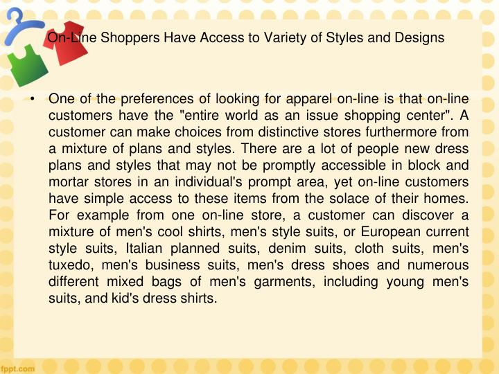 On-Line Shoppers Have Access to Variety of Styles and Designs