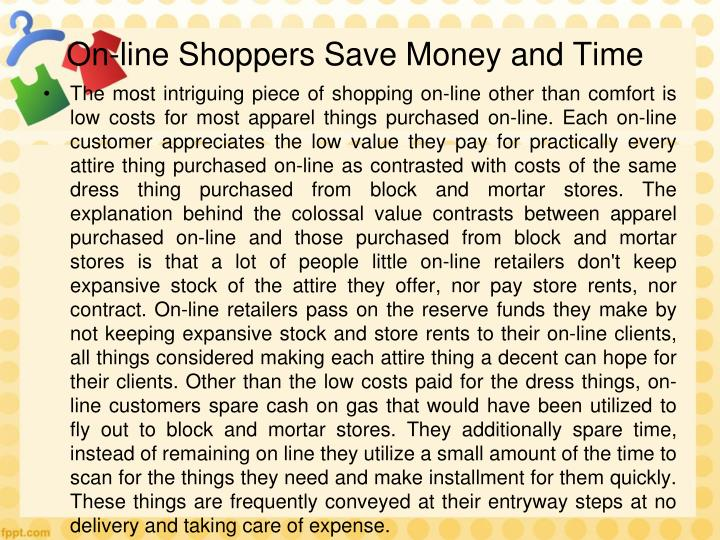 On-line Shoppers Save Money and Time