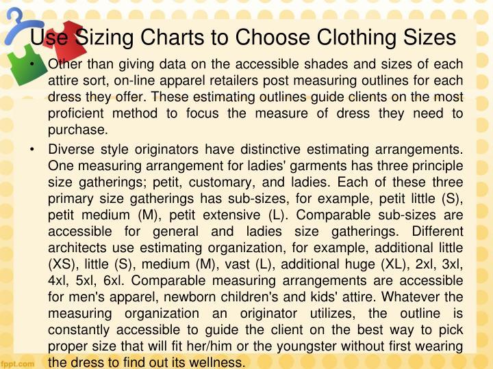 Use Sizing Charts to Choose Clothing Sizes