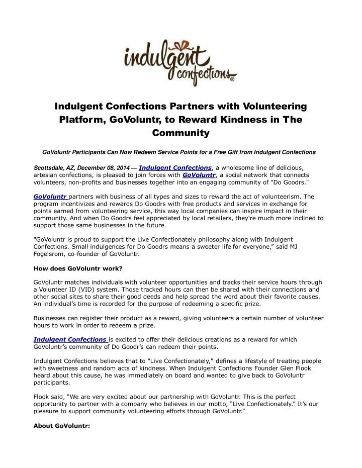 Indulgent confections partners with volunteering platform