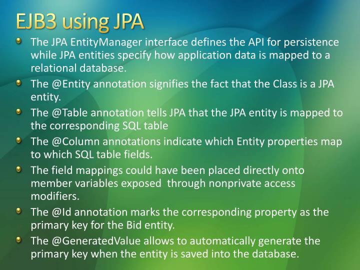 EJB3 using JPA