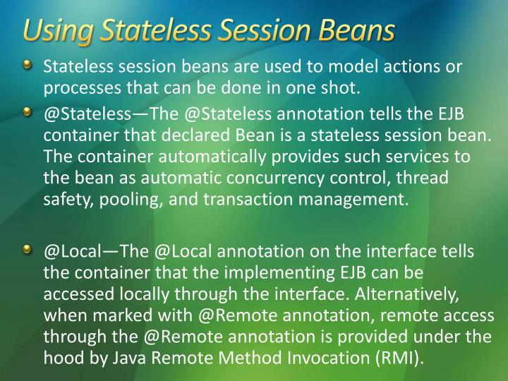 Using Stateless Session Beans
