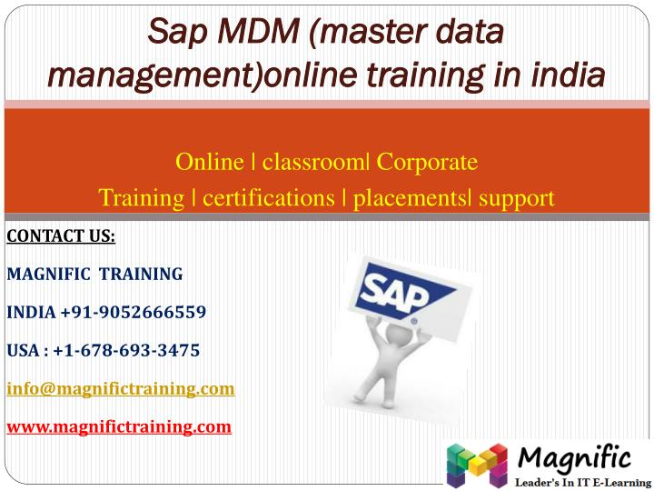 Sap mdm master data management online training in india