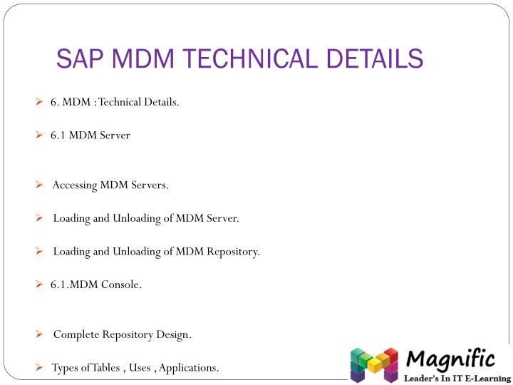 SAP MDM TECHNICAL DETAILS