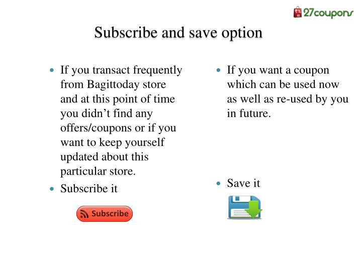 Subscribe and save option